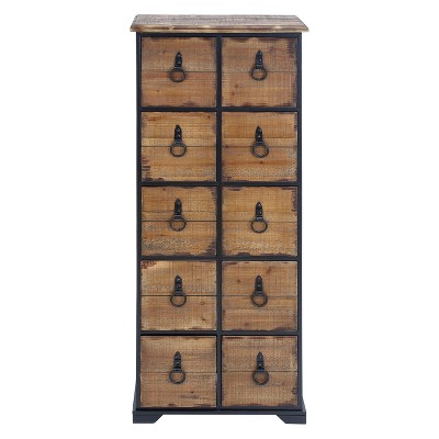 Wood 10 Drawer Footed Chest Olivia & May