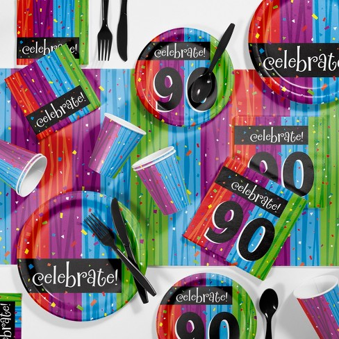 Birthday Age 70 Tablecover Tablecloth Colorful Decor Milestone Celebration Party
