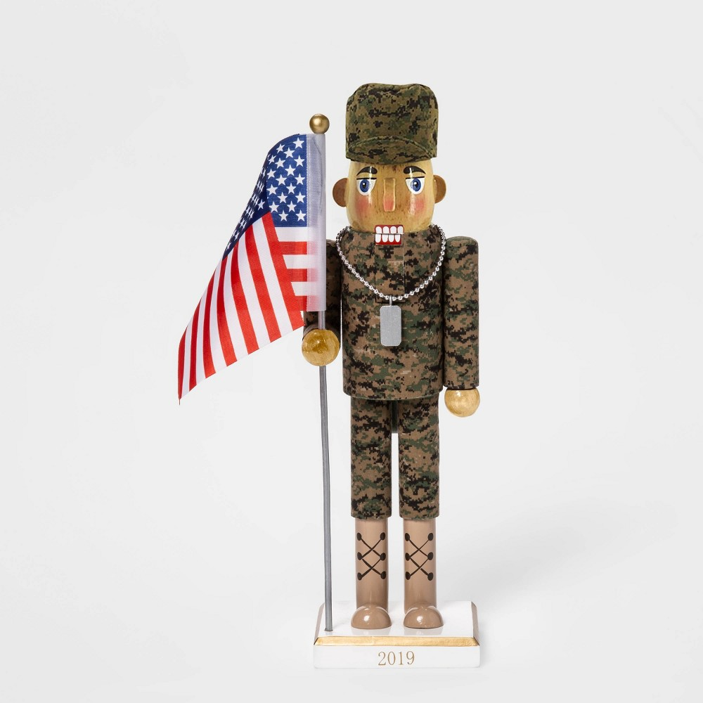 "Image of ""13.2"""" x 3.5"""" Male American Soldier Nutcracker with Flag - Wondershop"""