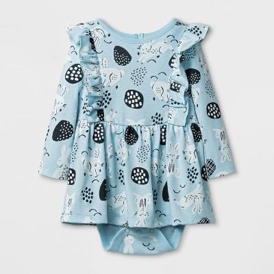 Baby Girls' Long Sleeve Bunny Dress - Cat & Jack™ Light Blue 0-3M
