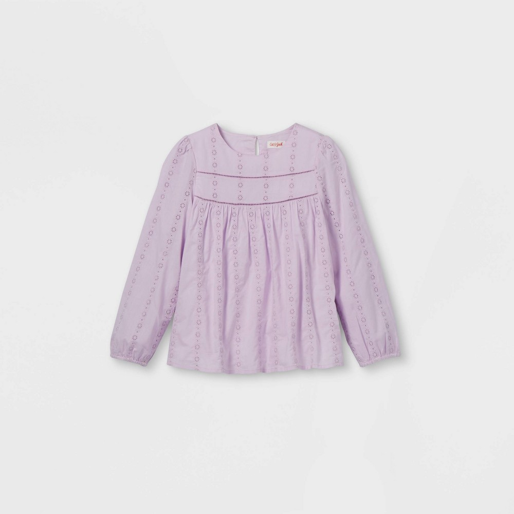 Girls 39 Embroidered Long Sleeve Woven Top Cat 38 Jack 8482 Light Purple M