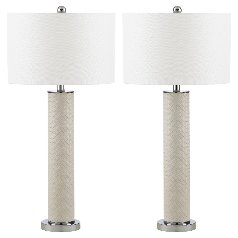 Image of Ollie Cream Faux Woven Leather Table Lamp Set of 2 - Safavieh, Ivory