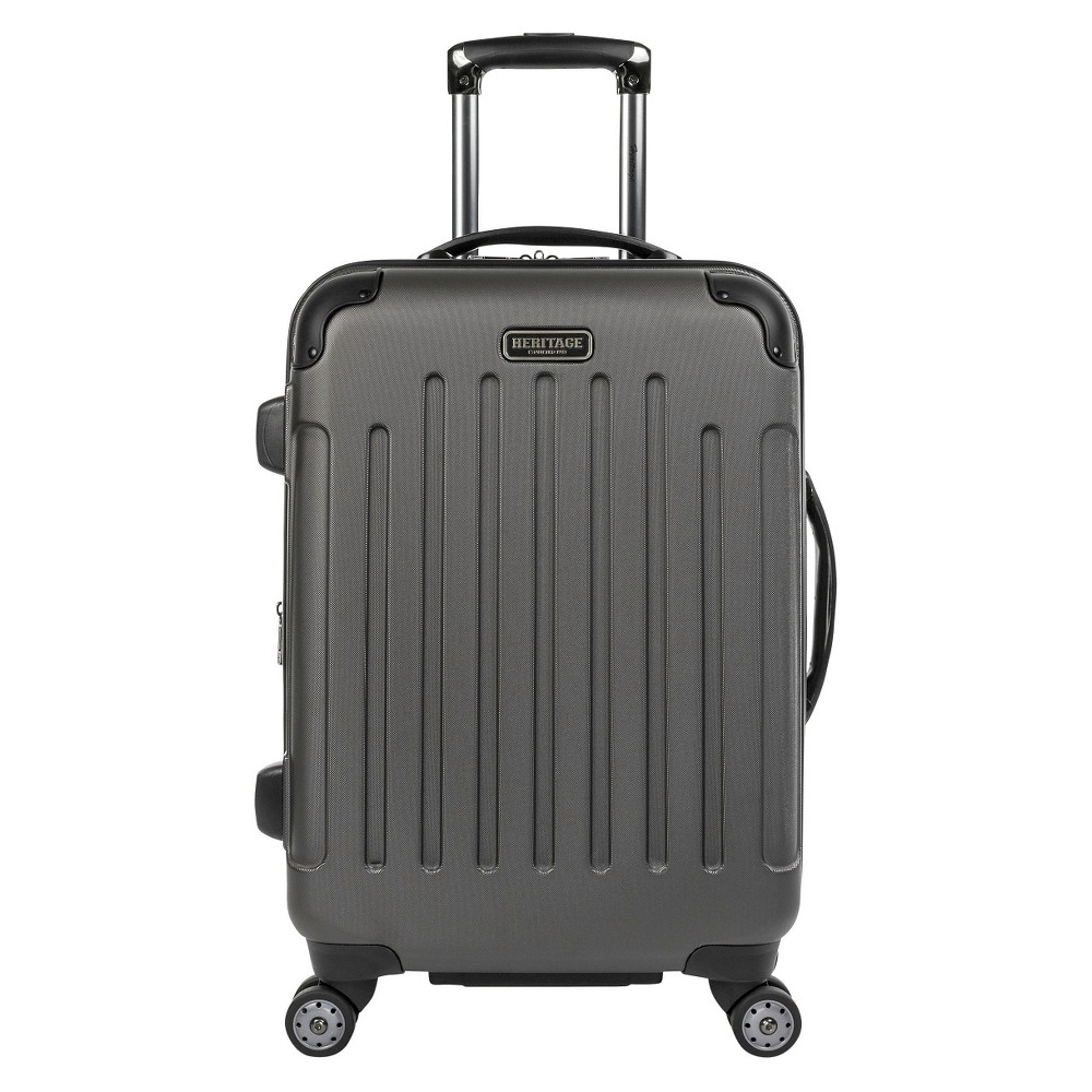 "Image of ""Heritage Logan Square 20"""" Polycarbonate & ABS Blend Lightweight Expandable Carry On Suitcase - Charcoal, Grey"""