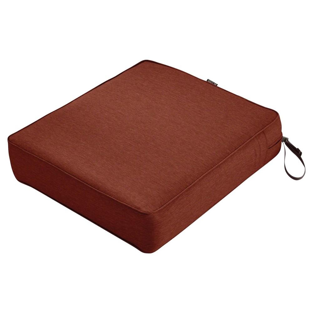 Image of Montlake Fadesafe Rectangular Patio Lounge Seat Cushion Set - Heather Henna Red - Classic Accessories