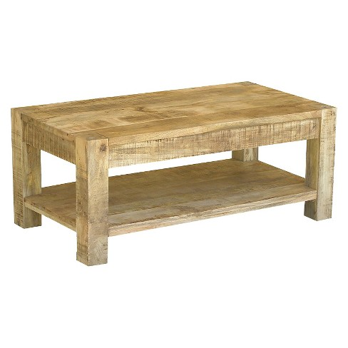 Reclaimed Mango Wood Coffee Table and Shelf - (19H x 45W x 24D) - Natural - Timbergirl - image 1 of 1