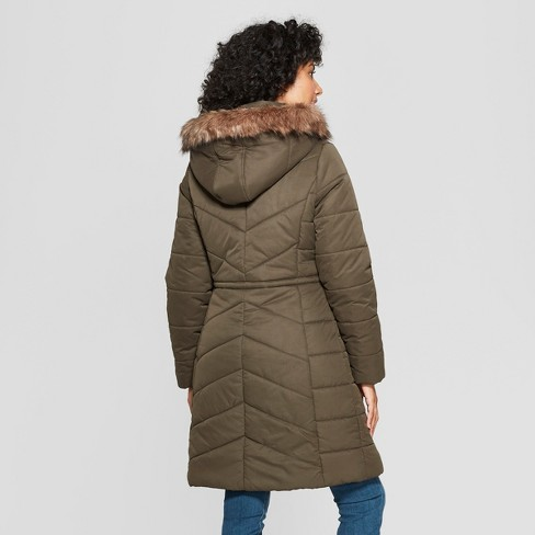 d4a6fc59d1ff Women s Long Quilted Puffer Jacket - A New Day™ Olive S   Target