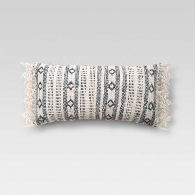 Oversized Lumbar Woven Pattern Pillow Blue/Cream - Threshold™