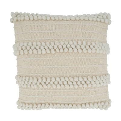 "18""x18"" Striped Design with Pom Poms Square Throw Pillow Cover Ivory - Saro Lifestyle"