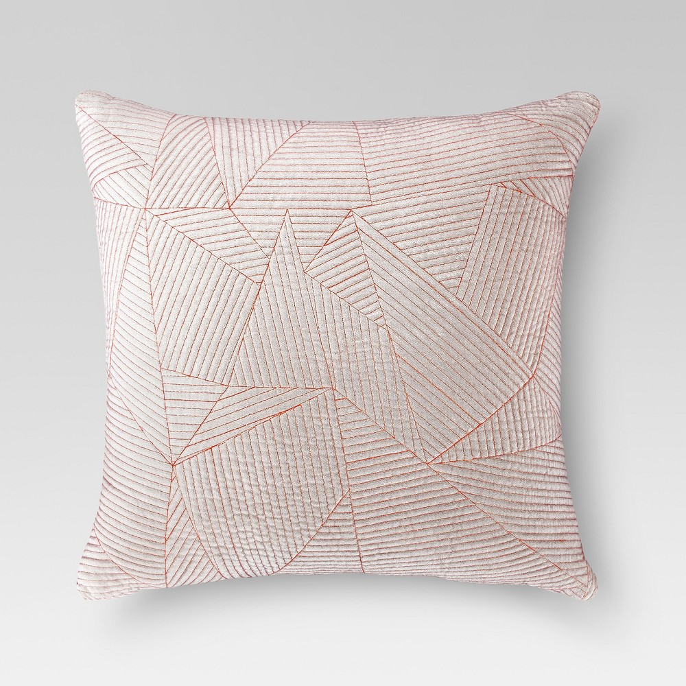 Orange Velvet Embroidered Square Throw Pillow - Project 62