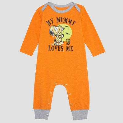 Baby Boys' Peanuts Snoopy Long Sleeve Romper - Orange 0-3M