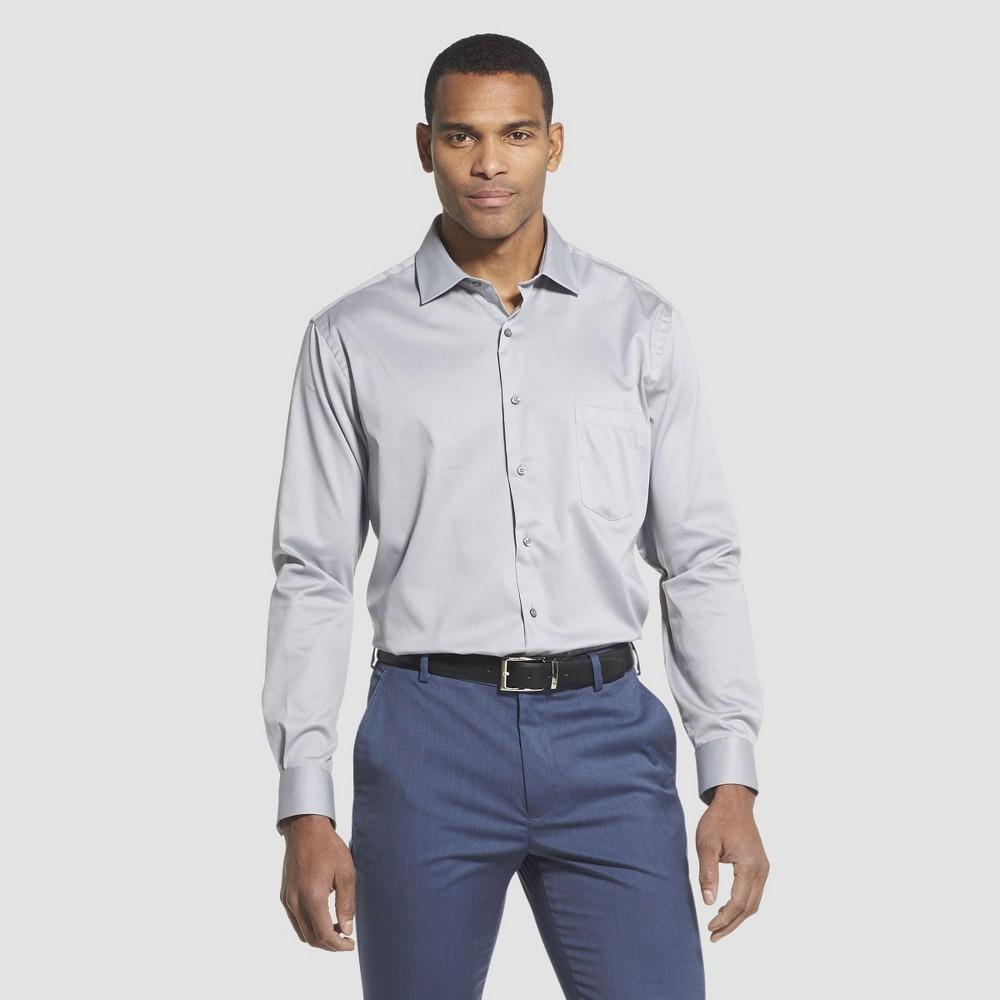 Men 39 S Regular Fit Long Sleeve Flex Button Down Shirt Van Heusen Gray 17 5 32 33