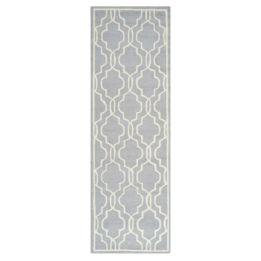 Langley Textured Rug - Silver / Ivory (2'6 X 12') - Safavieh, Silver/Ivory