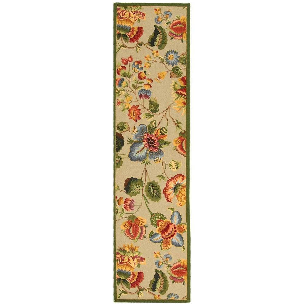 2'6X10' Hooked Floral Runner Rug Sage (Green) - Safavieh