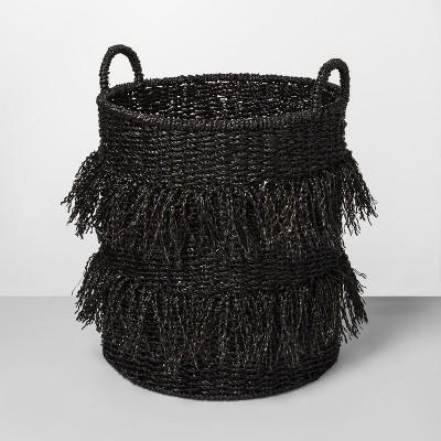 20.5  x 16.1  Seagrass Fringe Basket Black - Opalhouse™