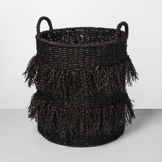 "20.5"" x 16.1"" Seagrass Fringe Basket Black - Opalhouse™"