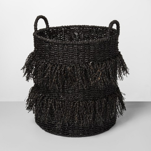 "20.5"" x 16.1"" Seagrass Fringe Basket Black - Opalhouse™ - image 1 of 1"