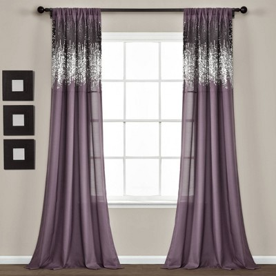 """Set of 2 (84""""x42"""") Shimmer Sequins Light Filtering Window Curtain Panels - Lush Décor"""