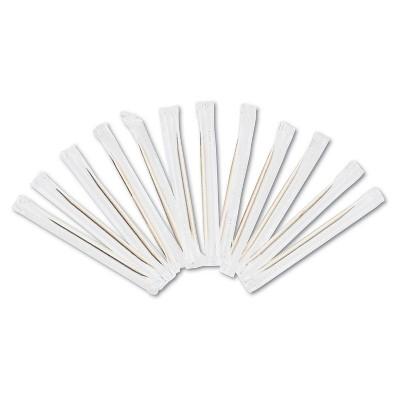 "Royal Cello-Wrapped Round Wood Toothpicks 2 3/4"" Natural 1000/Box 15 Boxes/Carton RIW15"
