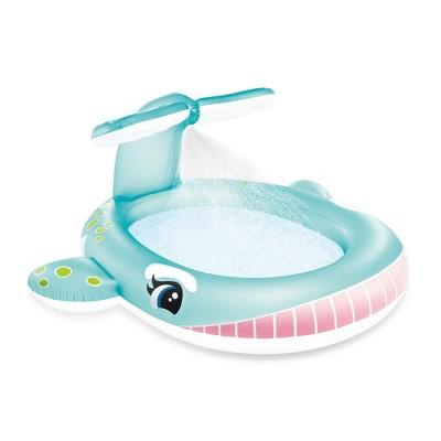 "Intex 57440EP 79"" x 77"" x 36"" Inflatable Whale Spray Kiddie Pool for Kids 2+"