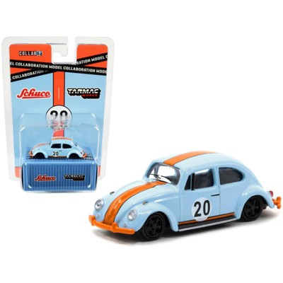 """Volkswagen Beetle Low Ride #20 Light Blue and Orange """"Collaboration Model"""" 1/64 Diecast Model Car by Schuco & Tarmac Works"""