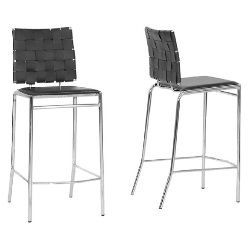 Vittoria Leather Modern Counter Stool - Black (Set of 2) - Baxton Studio - image 1 of 3