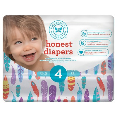Honest Company Diapers, Painted Feathers - Size 4 (29ct)