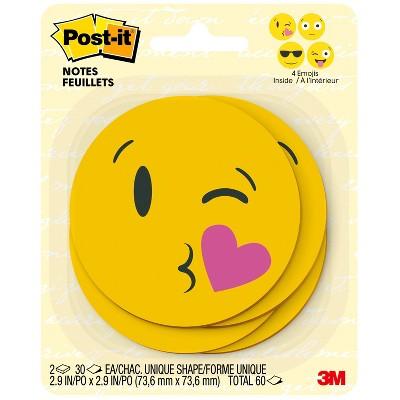 "Post-it 2ct 3"" x 3"" Printed Notes 30 Sheets/Pad - Emoji Designs"