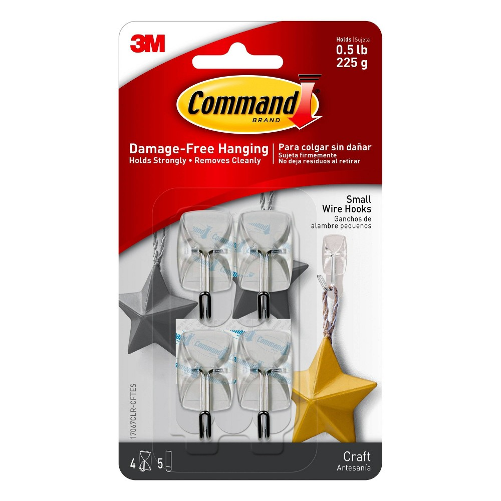 Image of Command Small Sized Wire Hooks (9 Hooks/12 Strips) - Clear