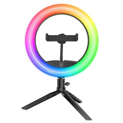 "Dixie & Charli 8"" Color LED Ring Light with Table Stand, Phone Holder, and Wired Remote - DC-RLCF-8C"