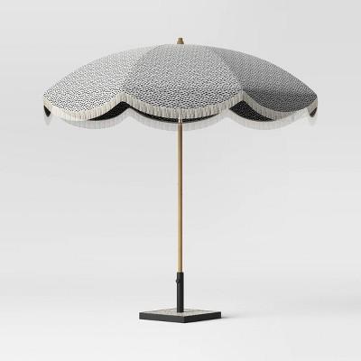 8.5' Round Patio Umbrella DuraSeason Fabric™ with Scalloped Edge and Fringe Black Dots - Light Wood Pole - Opalhouse™