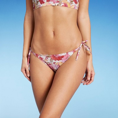 Women's Side-Tie Hipster Bikini Bottom - Shade & Shore™ Cream Floral