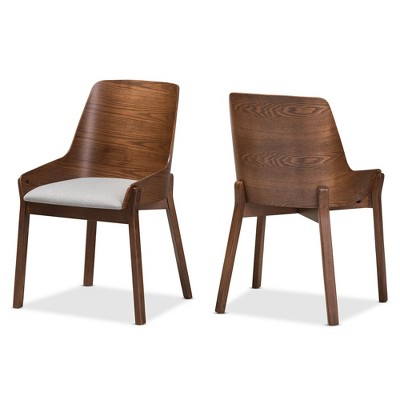 Marvelous Set Of 2 Rye Mid Century Modern Walnut Wood Fabric Dining Chairs   Baxton  Studio
