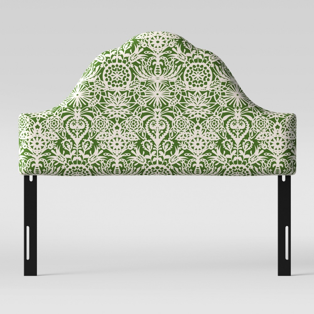 King Zinnia Arched Headboard Green & White Floral - Opalhouse