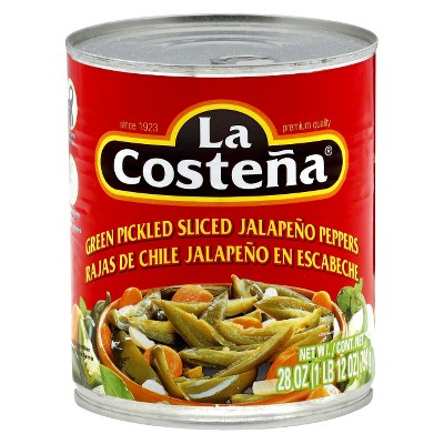 La Costena Green Pickled Sliced Jalapeno Peppers - 28oz