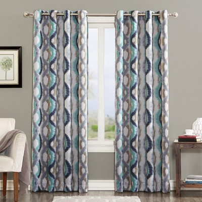"63""x54"" Henniker Ogee Watercolor Energy Efficient Grommet Top Curtain Panel Linen - Sun Zero"