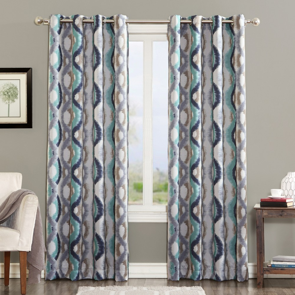 Henniker Ogee Watercolor Energy Efficient Grommet Curtain Panel Linen 54