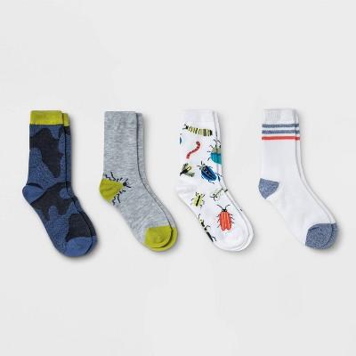 Boys' 4pk Crews Bug Socks - Cat & Jack™ Colors My Vary