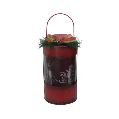"Northlight 10"" Animated Holographic Santa Claus Christmas Lantern with Timer - Red"