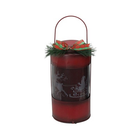 """Northlight 10"""" Animated Holographic Santa Claus Christmas Lantern with Timer - Red - image 1 of 2"""