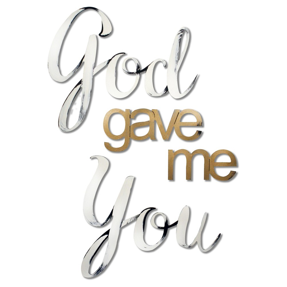 Image of 'God gave me You' Hand Painted Dimensional Wall Words, Panna Cream
