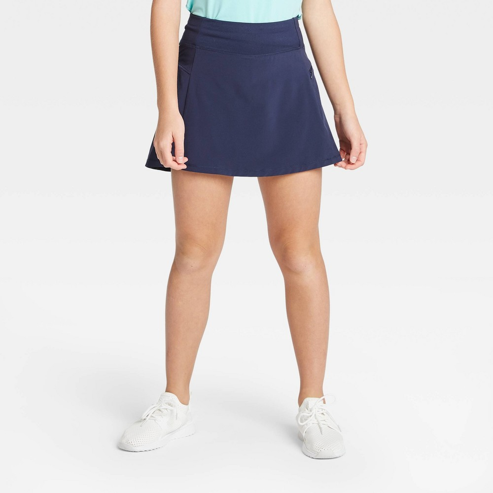 Image of Girls' Stretch Woven Performance Skort - All in Motion Navy S, Girl's, Size: Small, Blue