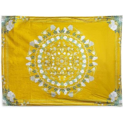 "Juvale Yellow Bohemian Mandala Wall Hanging Tapestry, Floral Tapestries Wall Decor 59""x80"""