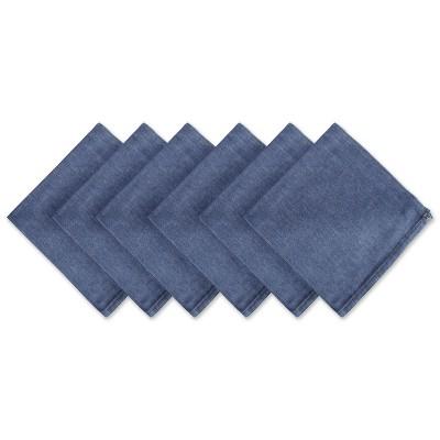 Set of 6 Denim Embroidered Jeans Napkins Blue - Design Imports