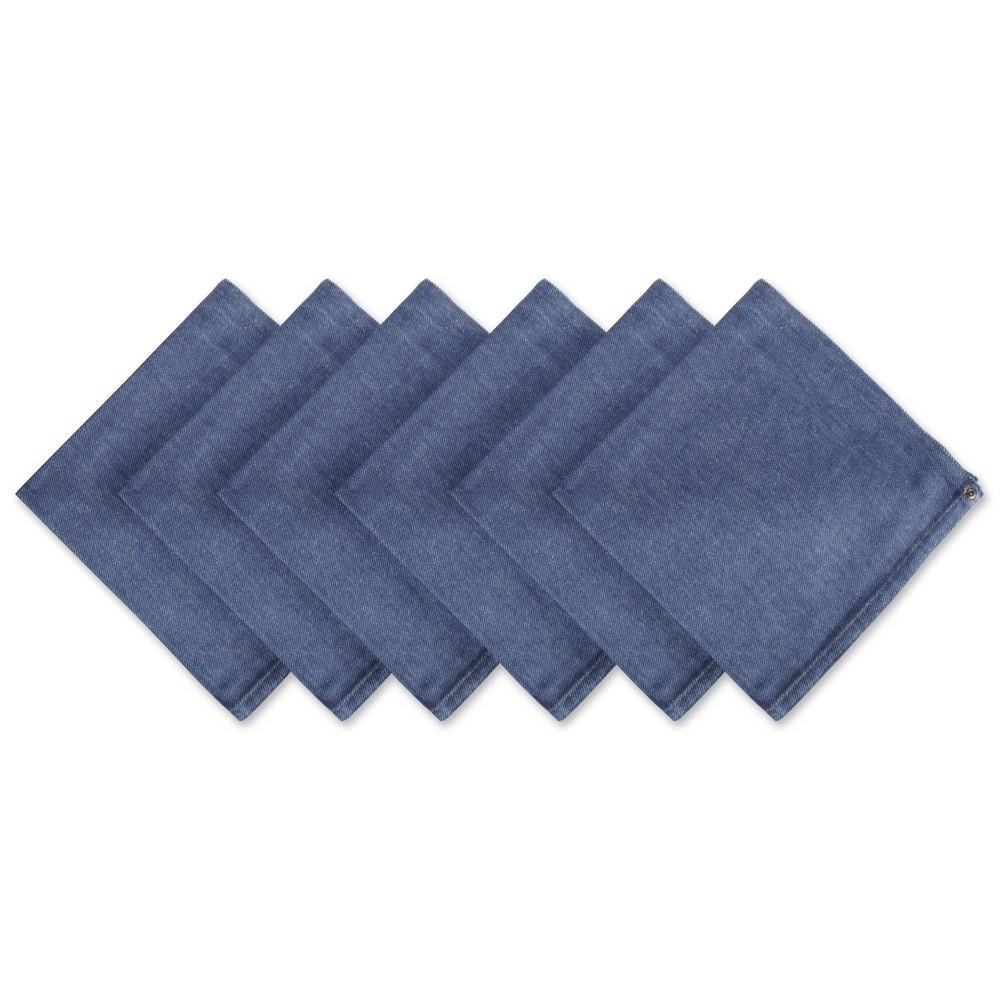 Image of Set of 6 Denim Embroidered Jeans Napkins Blue - Design Imports