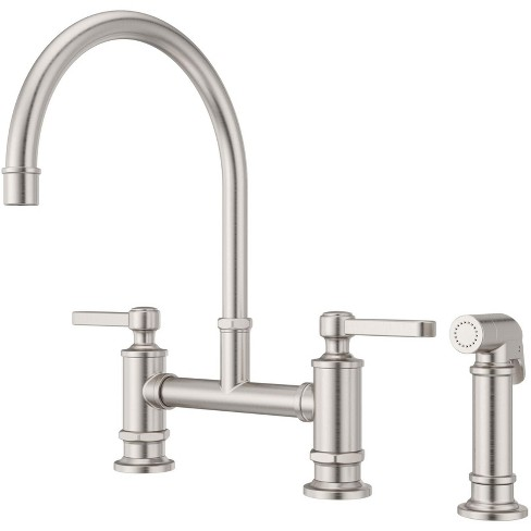 Pfister Lg31 Td Port Haven Double Handle Bridge Kitchen Faucet With Side Spray Stainless Steel Target