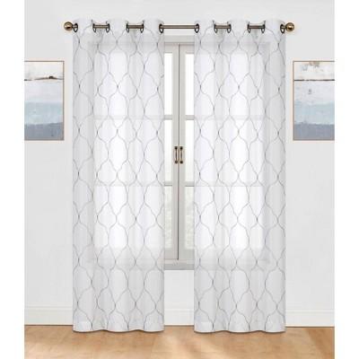 GoodGram 2 Pack: Trellis Embroidered Sheer Voile Grommet Curtain Panels