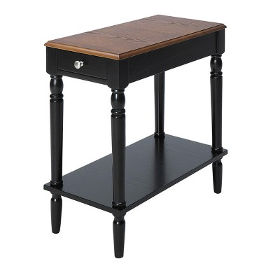 French Country No Tools Chairside Table - Dark Walnut / Black - Johar Furniture