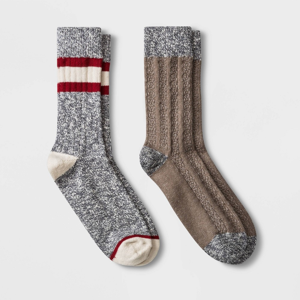 Image of Men's 2pk Boot Socks - Goodfellow & Co Gray/Brown 10-13, Men's, Size: Small, Brown Gray