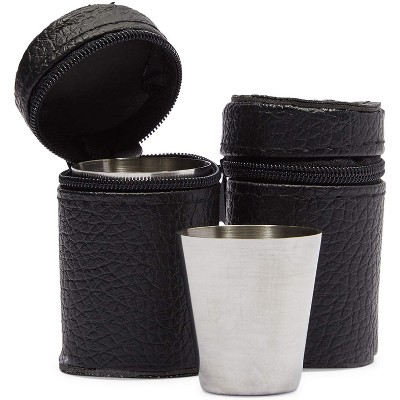 Okuna Outpost 50 Pack Stainless Steel Shot Glasses Cup Drinking Tumbler with 2 Leather Case (50ml, 1.6 oz)
