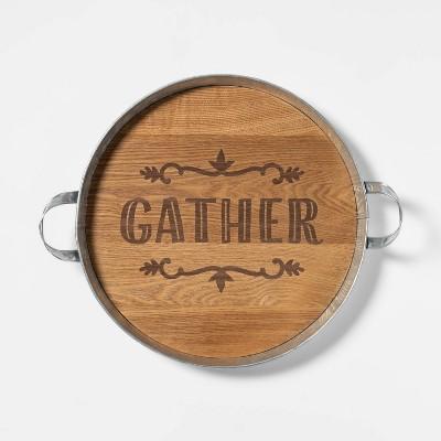 Harvest Round Galvanized Tin and Wood Tray - Spritz™